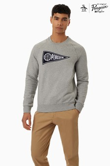 Original Penguin Grey Long Sleeve Flag Sweat Top