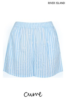 River Island Plus Blue Loose Stripe Shorts