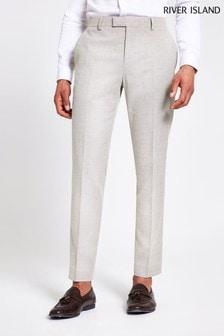 River Island Ecru Textured Skinny Suit Trousers