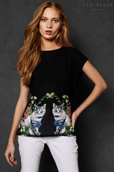Ted Baker Bleue Florence Woven Front Tee