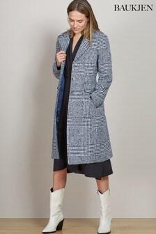 Baukjen Navy And Soft White Check Myla Check Coat