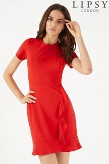 Платье с короткими рукавами и оборкой Lipsy