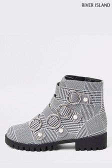 River Island Check Buckle Boot