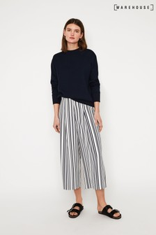 Warehouse Navy Stripe Soft Pleat Culotte