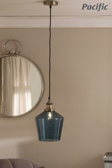 Pacific Teal Glass & Antique Brass Pendant