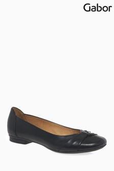 Gabor Black Leather Ballerina Pump