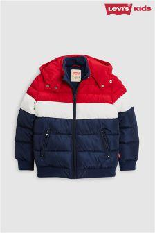 Jachetă căptușită Levi's® Kids cu blocuri de culoare roșu/bleumarin