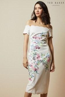 Ted Baker Cream Trixiiy Pergola Bardot Bodycon Dress