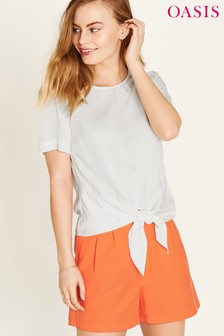 Oasis White Tie Front Viscose Tee