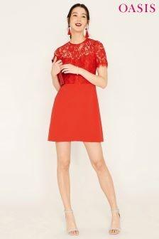 Oasis Orange Lace Bodice Shift Dress
