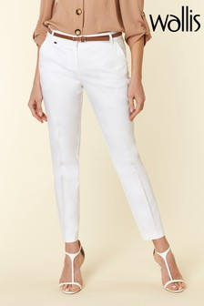 Wallis White Piped Belted Cigarette Trouser