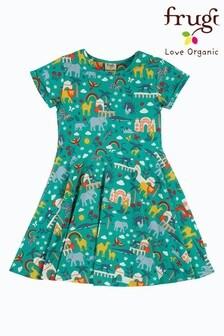 Frugi Organic Cotton India Green Skater Dress