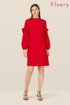Finery London Red Jaelynn Frill Detail Dress