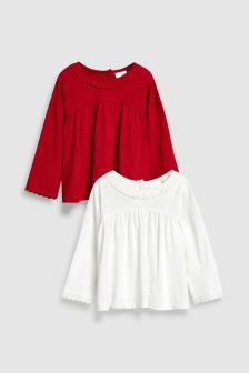 Long Sleeve Blouses Two Pack (3mths-6yrs)