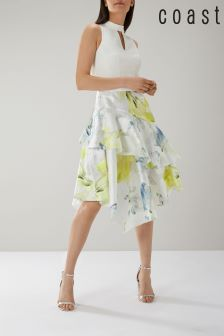 Coast Yellow Vera Clipped Jacquard Dress