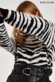 River Island Black Zebra Animal Fluffy Jumper