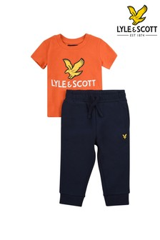 Lyle & Scott Orange Eagle Logo T-Shirt And Joggers Set