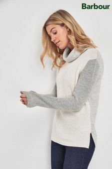 Barbour Coastal Cream Contrast Dipton Roll Neck Jumper