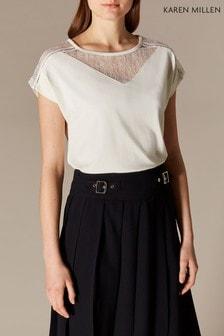 Karen Millen白色蕾絲鑲嵌寬鬆T恤