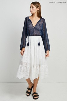 French Connection White Camellia Lace Flared Skirt