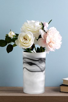 Marble Effect Glass Vase