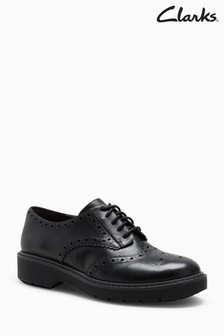 Clarks Black Leather Alexa Darcy Chunky Sole Brogue