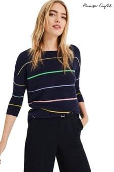 Phase Eight Blue Piera Rainbow Stripe Knit