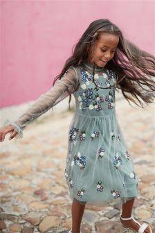 Платье с цветочной вышивкой (3-16 лет)