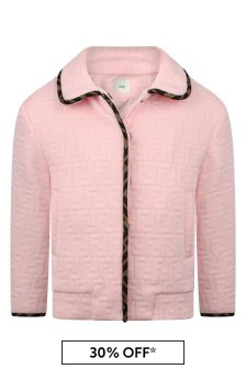 Fendi Kids Girls Pink FF Logo Jacket