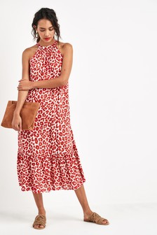 Animal Print Halter Neck Dress