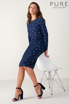 Pure Collection Blue Jersey Slim Blouson Dress