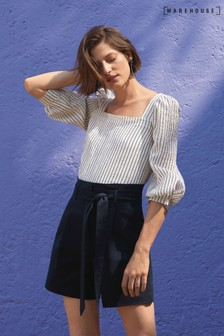Warehouse White Stripe Square Neck Top
