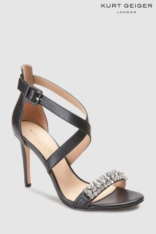 Kurt Geiger London Black Knightsbridge Crystal Sandal