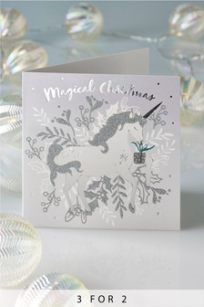 10 Pack Unicorn Christmas Cards