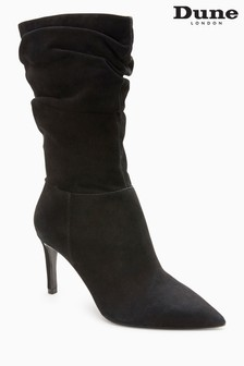 Dune Black Reenie Suede Rouched Mid Boot