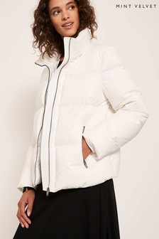Mint Velvet White Cropped Padded Jacket