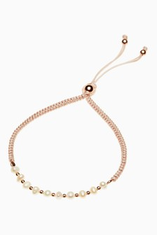 Rose Gold Plated With Pearl Beady Pully Bracelet