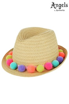 Angels by Accessorize Natural Pom Pom Trilby Hat