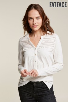FatFace Natural Clarissa Pleated Top