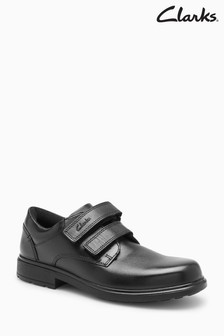Clarks Kids Black Leather Remi Pace Velcro Shoe