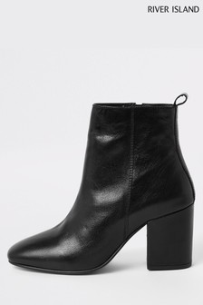 Bottines River Island Horizon noires à bout carré