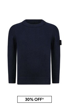 Boys Navy Knitted Jumper