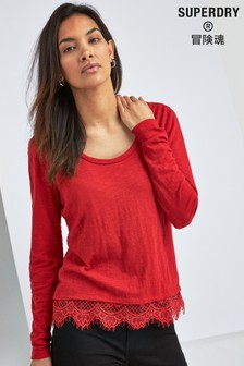 Superdry Red Long Sleeve Lace Hem Tee