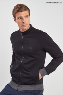 Emporio Armani Black Zip Through Track Top