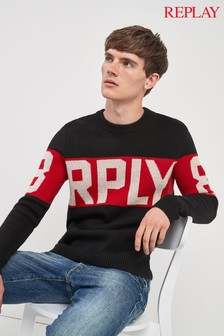 Replay® Navy Colourblock Logo Jumper