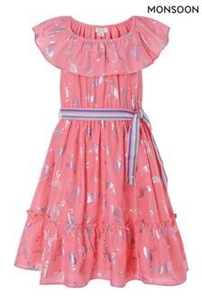 Monsoon Orange Flamingo Foil Frill Dress