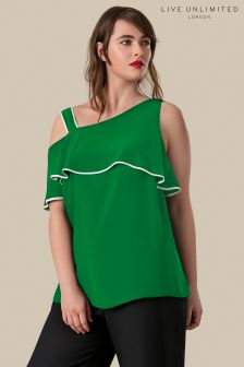 f89fbb03351 Live Unlimited Green Ruffle Sleeve Top With Contrast Binding