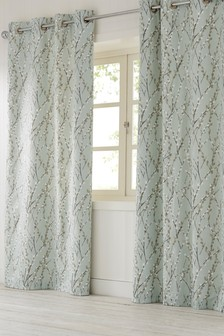 Delicate Willow Print Eyelet Curtains