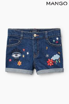Mango Kids Dark Denim Embrodidered Shorts