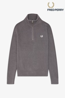 Fred Perry Grey Half Zip Jumper